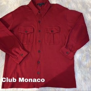 Club Monaco size L Large red button down top shirt